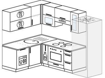 Угловая кухня 5,7 м² (1,5✕2,3 м), верхние модули 72 см, посудомоечная машина, встроенный духовой шкаф, холодильник