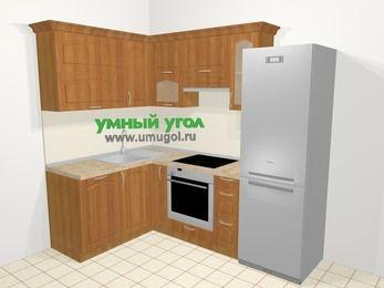 Угловая кухня МДФ матовый в классическом стиле 5,7 м², 150 на 230 см (зеркальный проект), Вишня, верхние модули 72 см, посудомоечная машина, встроенный духовой шкаф, холодильник