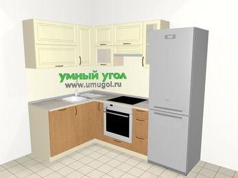 Угловая кухня из МДФ + ЛДСП 5,7 м², 1500 на 2300 мм (зеркальный проект), Ваниль / Ольха, верхние модули 720 мм, посудомоечная машина, встроенный духовой шкаф, холодильник