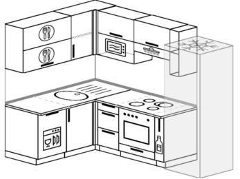 Угловая кухня 5,7 м² (1,5✕2,3 м), верхние модули 72 см, посудомоечная машина, верхний модуль под свч, встроенный духовой шкаф, холодильник