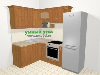 Угловая кухня МДФ матовый в классическом стиле 5,7 м², 150 на 230 см (зеркальный проект), Вишня, верхние модули 72 см, посудомоечная машина, верхний модуль под свч, встроенный духовой шкаф, холодильник