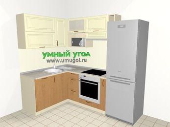 Угловая кухня из МДФ + ЛДСП 5,7 м², 1500 на 2300 мм (зеркальный проект), Ваниль / Ольха, верхние модули 720 мм, посудомоечная машина, верхний модуль под свч, встроенный духовой шкаф, холодильник