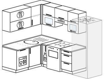 Угловая кухня 5,7 м² (1,5✕2,3 м), верхние модули 72 см, посудомоечная машина, холодильник, отдельно стоящая плита
