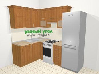 Угловая кухня МДФ матовый в классическом стиле 5,7 м², 150 на 230 см (зеркальный проект), Вишня, верхние модули 72 см, посудомоечная машина, холодильник, отдельно стоящая плита