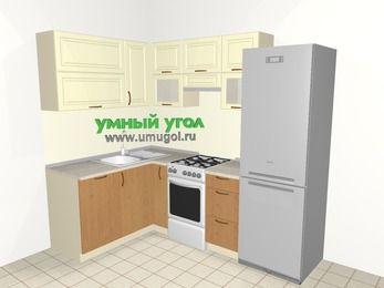 Угловая кухня из МДФ + ЛДСП 5,7 м², 1500 на 2300 мм (зеркальный проект), Ваниль / Ольха, верхние модули 720 мм, посудомоечная машина, холодильник, отдельно стоящая плита