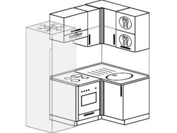 Угловая кухня 5,0 м² (1,6✕1,0 м), верхние модули 72 см, встроенный духовой шкаф, холодильник