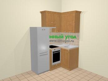 Угловая кухня МДФ матовый в стиле кантри 5,0 м², 160 на 100 см, Ольха, верхние модули 72 см, встроенный духовой шкаф, холодильник