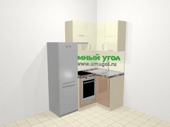 Угловая кухня МДФ глянец в современном стиле 5,0 м², 160 на 100 см, Жасмин / Капучино, верхние модули 72 см, встроенный духовой шкаф, холодильник