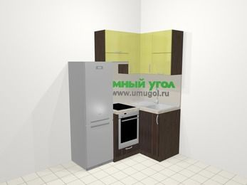 Кухни пластиковые угловые в современном стиле 5,0 м², 160 на 100 см, Желтый Галлион глянец / Дерево Мокка, верхние модули 72 см, встроенный духовой шкаф, холодильник