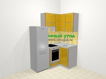 Кухни пластиковые угловые в современном стиле 5,0 м², 160 на 100 см, Желтый глянец, верхние модули 72 см, встроенный духовой шкаф, холодильник