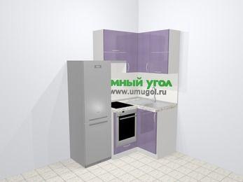 Кухни пластиковые угловые в современном стиле 5,0 м², 160 на 100 см, Сиреневый глянец, верхние модули 72 см, встроенный духовой шкаф, холодильник