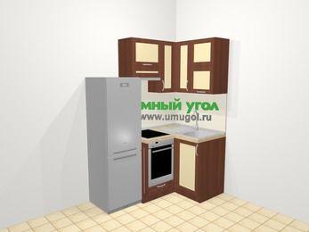 Угловая кухня из рамочного МДФ 5,0 м², 160 на 100 см, Вишня темная / Крем, верхние модули 72 см, встроенный духовой шкаф, холодильник