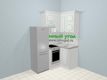 Угловая кухня МДФ патина в стиле прованс 5,0 м², 160 на 100 см, Лиственница белая, верхние модули 72 см, встроенный духовой шкаф, холодильник