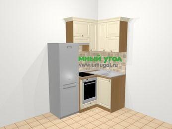 Угловая кухня из массива дерева в стиле кантри 5,0 м², 160 на 100 см, Бежевые оттенки, верхние модули 72 см, встроенный духовой шкаф, холодильник
