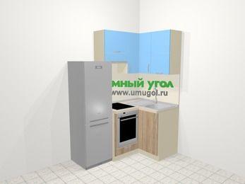 Угловая кухня из ЛДСП EGGER 5,0 м², 160 на 100 см, Голубой / Дуб, верхние модули 72 см, встроенный духовой шкаф, холодильник
