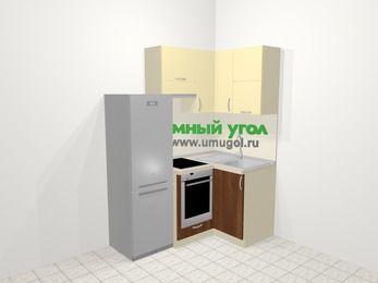 Угловая кухня из ЛДСП EGGER 5,0 м², 160 на 100 см, Ваниль / Орех, верхние модули 72 см, встроенный духовой шкаф, холодильник