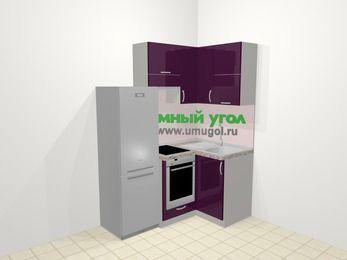 Угловая кухня МДФ глянец в современном стиле 5,0 м², 160 на 100 см, Баклажан, верхние модули 72 см, встроенный духовой шкаф, холодильник
