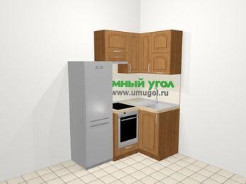 Угловая кухня МДФ патина в классическом стиле 5,0 м², 160 на 100 см, Ольха, верхние модули 72 см, встроенный духовой шкаф, холодильник