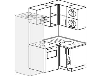 Угловая кухня 5,0 м² (1,6✕1,0 м), верхние модули 72 см, холодильник, отдельно стоящая плита