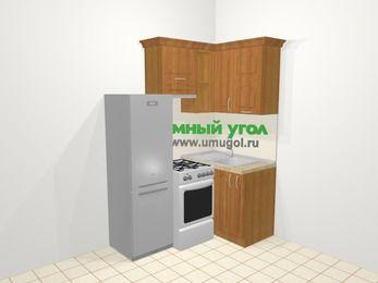 Угловая кухня МДФ матовый в классическом стиле 5,0 м², 160 на 100 см, Вишня, верхние модули 72 см, холодильник, отдельно стоящая плита
