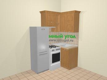 Угловая кухня МДФ матовый в стиле кантри 5,0 м², 160 на 100 см, Ольха, верхние модули 72 см, холодильник, отдельно стоящая плита