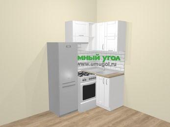Угловая кухня МДФ матовый  в скандинавском стиле 5,0 м², 160 на 100 см, Белый, верхние модули 72 см, холодильник, отдельно стоящая плита
