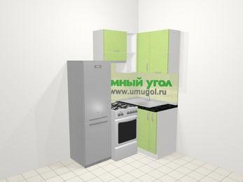 Угловая кухня МДФ металлик в современном стиле 5,0 м², 160 на 100 см, Салатовый металлик, верхние модули 72 см, холодильник, отдельно стоящая плита