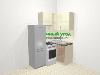 Угловая кухня МДФ глянец в современном стиле 5,0 м², 160 на 100 см, Жасмин / Капучино, верхние модули 72 см, холодильник, отдельно стоящая плита