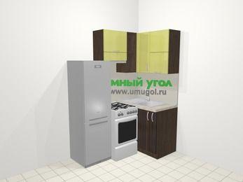 Кухни пластиковые угловые в современном стиле 5,0 м², 160 на 100 см, Желтый Галлион глянец / Дерево Мокка, верхние модули 72 см, холодильник, отдельно стоящая плита
