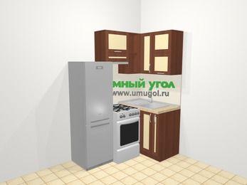 Угловая кухня из рамочного МДФ 5,0 м², 160 на 100 см, Вишня темная / Крем, верхние модули 72 см, холодильник, отдельно стоящая плита