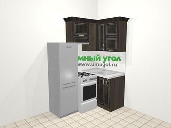 Угловая кухня МДФ патина в классическом стиле 5,0 м², 160 на 100 см, Венге, верхние модули 72 см, холодильник, отдельно стоящая плита