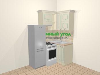 Угловая кухня МДФ патина в стиле прованс 5,0 м², 160 на 100 см, Керамик, верхние модули 72 см, холодильник, отдельно стоящая плита