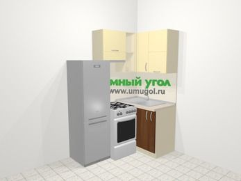 Угловая кухня из ЛДСП EGGER 5,0 м², 160 на 100 см, Ваниль / Орех, верхние модули 72 см, холодильник, отдельно стоящая плита