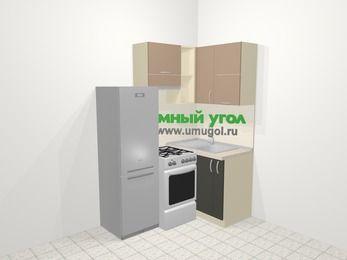 Угловая кухня из ЛДСП EGGER 5,0 м², 160 на 100 см, Бежевый / Трюфель, верхние модули 72 см, холодильник, отдельно стоящая плита