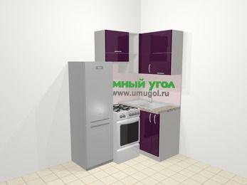 Угловая кухня МДФ глянец в современном стиле 5,0 м², 160 на 100 см, Баклажан, верхние модули 72 см, холодильник, отдельно стоящая плита