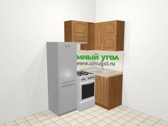 Угловая кухня МДФ патина в классическом стиле 5,0 м², 160 на 100 см, Ольха, верхние модули 72 см, холодильник, отдельно стоящая плита