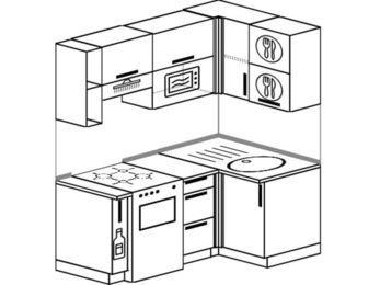 Угловая кухня 5,0 м² (1,6✕1,0 м), верхние модули 72 см, верхний модуль под свч, отдельно стоящая плита