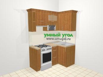 Угловая кухня МДФ матовый в классическом стиле 5,0 м², 160 на 100 см, Вишня, верхние модули 72 см, верхний модуль под свч, отдельно стоящая плита