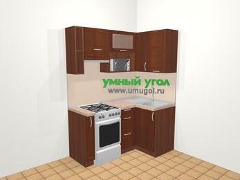 Угловая кухня МДФ матовый в классическом стиле 5,0 м², 160 на 100 см, Вишня темная, верхние модули 72 см, верхний модуль под свч, отдельно стоящая плита