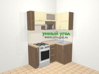 Угловая кухня МДФ матовый в современном стиле 5,0 м², 160 на 100 см, Ваниль / Лиственница бронзовая, верхние модули 72 см, верхний модуль под свч, отдельно стоящая плита