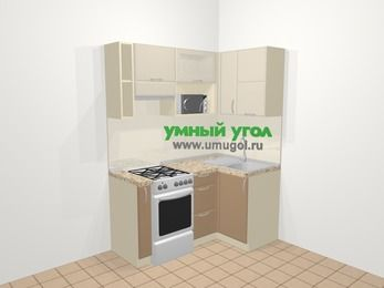 Угловая кухня МДФ матовый в современном стиле 5,0 м², 160 на 100 см, Керамик / Кофе, верхние модули 72 см, верхний модуль под свч, отдельно стоящая плита