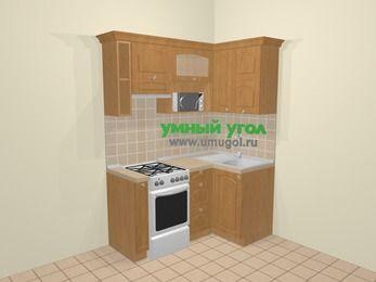 Угловая кухня МДФ матовый в стиле кантри 5,0 м², 160 на 100 см, Ольха, верхние модули 72 см, верхний модуль под свч, отдельно стоящая плита