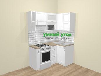 Угловая кухня МДФ матовый  в скандинавском стиле 5,0 м², 160 на 100 см, Белый, верхние модули 72 см, верхний модуль под свч, отдельно стоящая плита