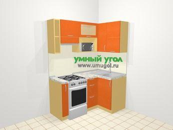 Угловая кухня МДФ металлик в современном стиле 5,0 м², 160 на 100 см, Оранжевый металлик, верхние модули 72 см, верхний модуль под свч, отдельно стоящая плита