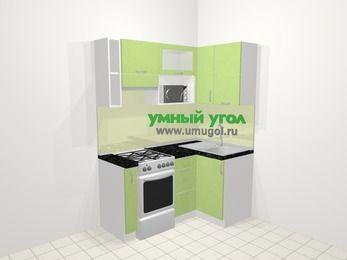 Угловая кухня МДФ металлик в современном стиле 5,0 м², 160 на 100 см, Салатовый металлик, верхние модули 72 см, верхний модуль под свч, отдельно стоящая плита