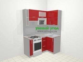 Угловая кухня МДФ глянец в современном стиле 5,0 м², 160 на 100 см, Красный, верхние модули 72 см, верхний модуль под свч, отдельно стоящая плита