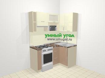 Угловая кухня МДФ глянец в современном стиле 5,0 м², 160 на 100 см, Жасмин / Капучино, верхние модули 72 см, верхний модуль под свч, отдельно стоящая плита