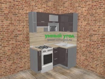 Угловая кухня МДФ глянец в стиле лофт 5,0 м², 160 на 100 см, Шоколад, верхние модули 72 см, верхний модуль под свч, отдельно стоящая плита