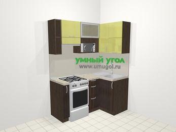 Кухни пластиковые угловые в современном стиле 5,0 м², 160 на 100 см, Желтый Галлион глянец / Дерево Мокка, верхние модули 72 см, верхний модуль под свч, отдельно стоящая плита