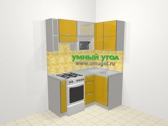 Кухни пластиковые угловые в современном стиле 5,0 м², 160 на 100 см, Желтый глянец, верхние модули 72 см, верхний модуль под свч, отдельно стоящая плита
